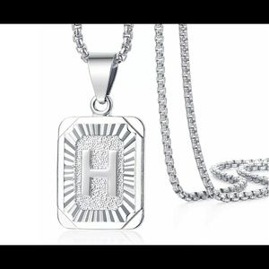 """White Gold Filled Letter H Pendant 20"""" Necklace"""